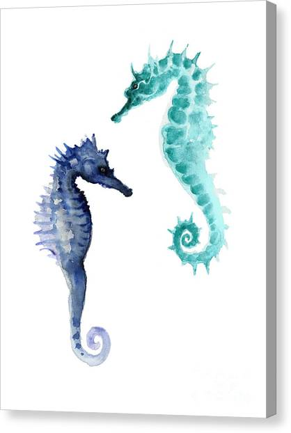 Coastal Art Canvas Print - Blue Seahorses Watercolor Painting by Joanna Szmerdt