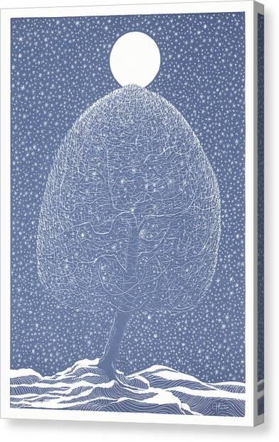 Blue Shadow Tree Canvas Print