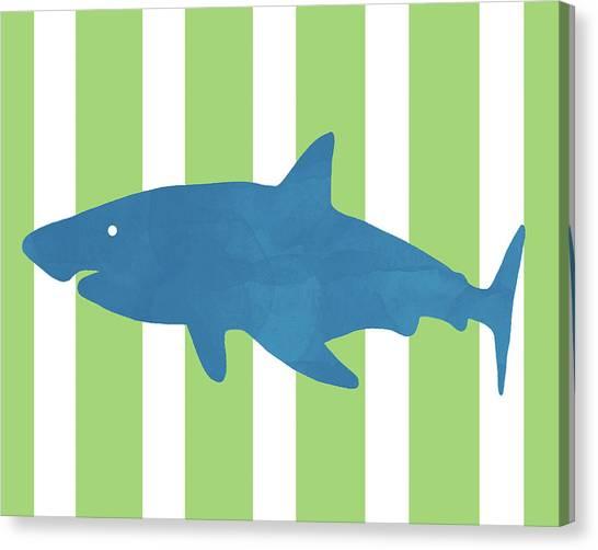 Reef Sharks Canvas Print - Blue Shark 1- Art By Linda Woods by Linda Woods