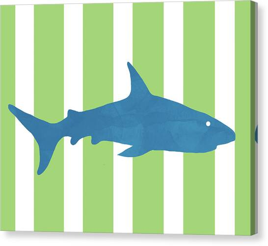 Reef Sharks Canvas Print -  Blue Shark 2- Art By Linda Woods by Linda Woods