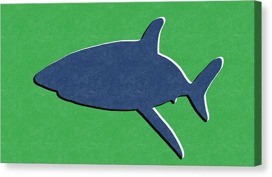 Sharks Canvas Print - Blue Shark by Linda Woods