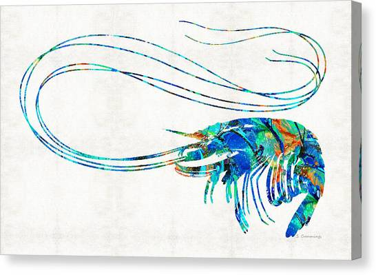 Shrimping Canvas Print - Blue Shrimp Art By Sharon Cummings by Sharon Cummings