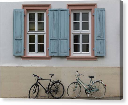 Blue Shutters And Bicycles Canvas Print