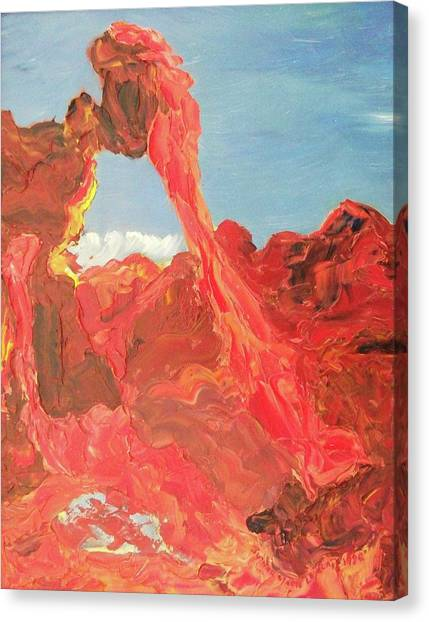 Blue Sky And Orange Rocks Canvas Print by Suzanne  Marie Leclair