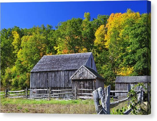 Blue Sky Autumn Barn Canvas Print
