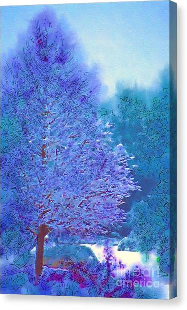 Blue Snow Scene Canvas Print