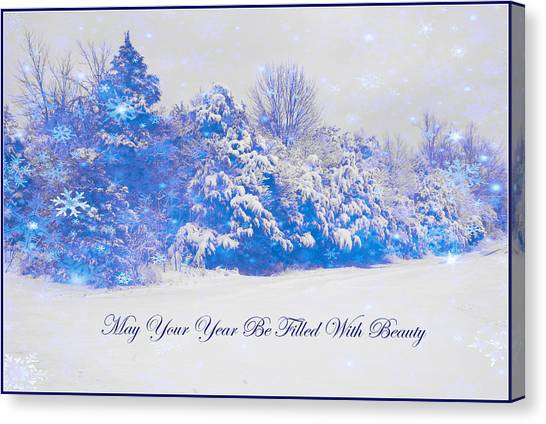 Blue Snowy Christmas Scene Canvas Print by Angela Comperry