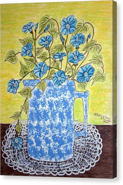 Blue Spongeware Pitcher Morning Glories Canvas Print