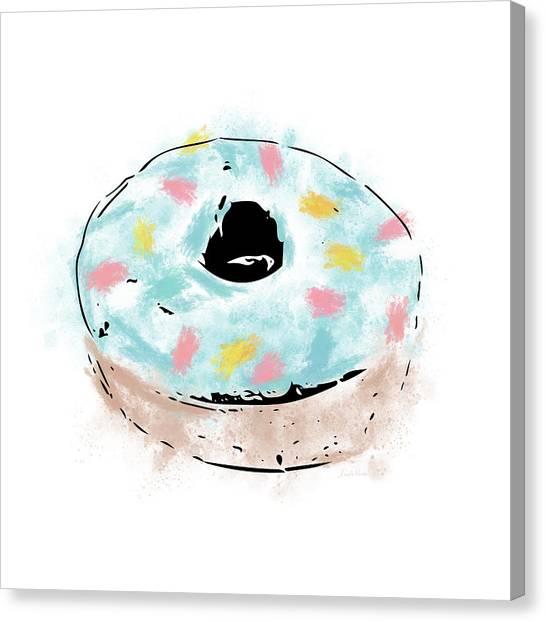 Doughnuts Canvas Print - Blue Sprinkle Donut- Art By Linda Woods by Linda Woods
