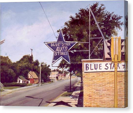 Blue Star Auto Canvas Print by William  Brody