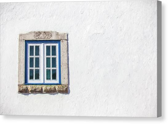 Blue Stone Window Of Obidos Canvas Print