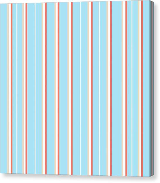 Pattern Canvas Print - Blue Stripe Pattern by Christina Rollo