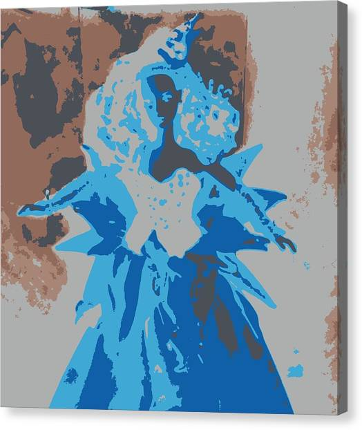 Blue Sunflower Barbie Canvas Print