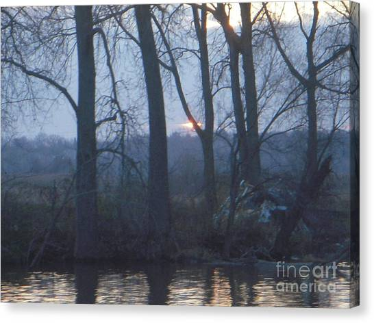 Blue Sunset On Fox River Canvas Print by Deborah Finley