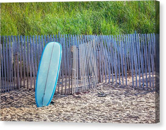 Surfboard Fence Canvas Print - Blue Surfboard At Montauk by Art Block Collections