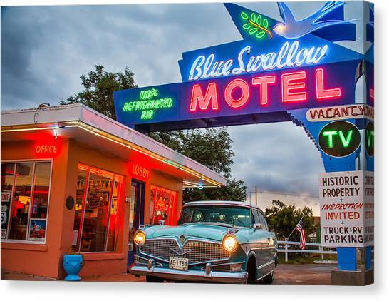 Blue Swallow Motel On Route 66 Canvas Print