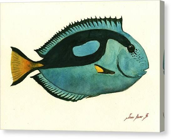 Tropical Fish Canvas Print - Blue Tang Fish by Juan Bosco