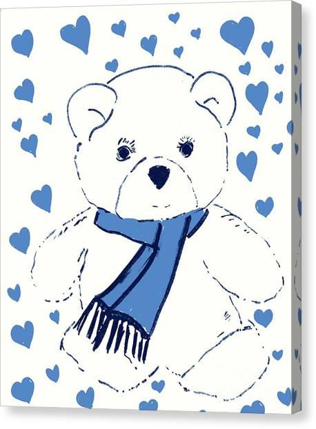 Blue Teddy Bear Love Canvas Print