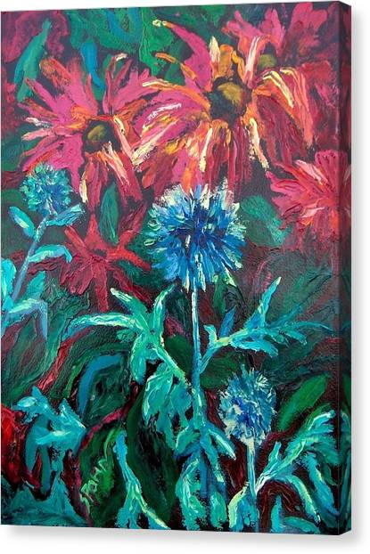 Blue Thistle And Bee Balm Canvas Print