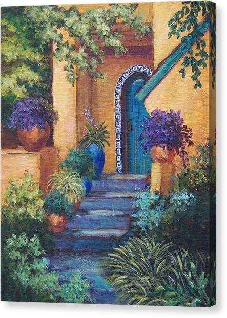 Blue Doors Canvas Print - Blue Tile Steps by Candy Mayer
