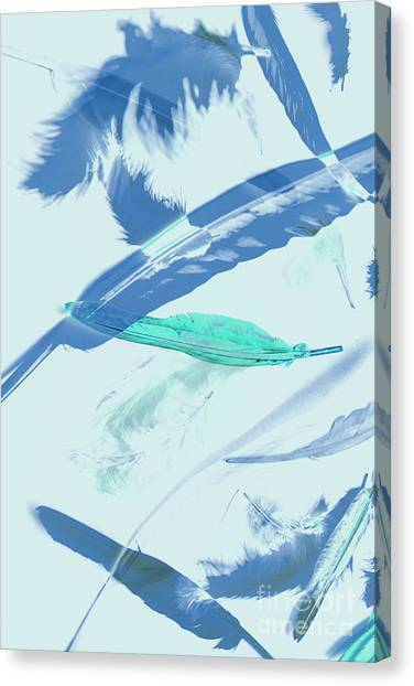 Blue Toned Artistic Feather Abstract Canvas Print