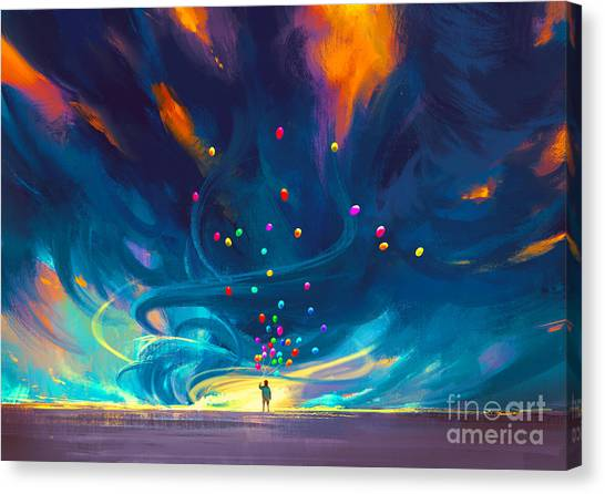 Canvas Print featuring the painting Blue Tornado by Tithi Luadthong