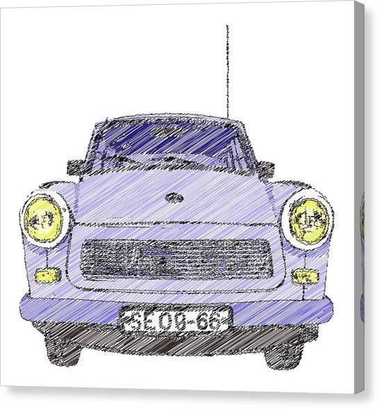 Blue Trabant Canvas Print