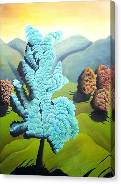 Art Deco Canvas Print - Blue Tree by Laura Barat