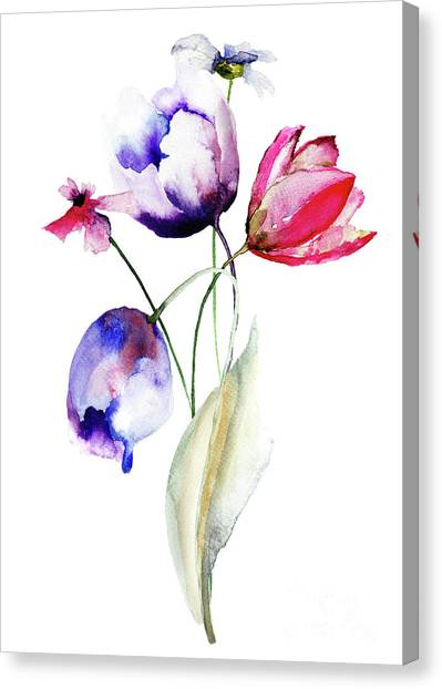 Blue Tulips Flowers With Wild Flowers Canvas Print
