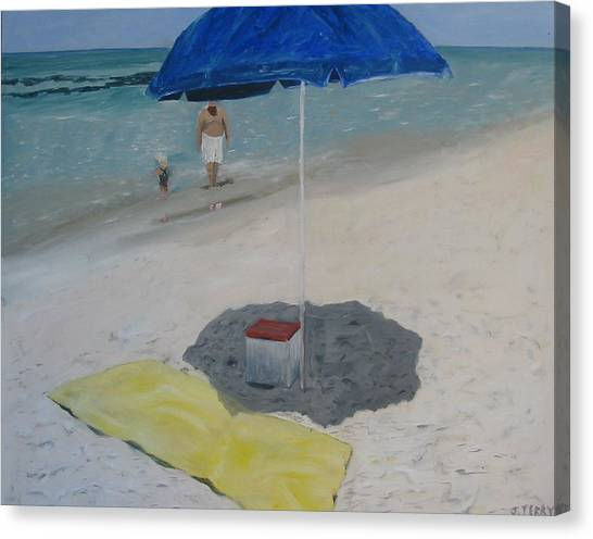 Blue Umbrella Canvas Print by John Terry