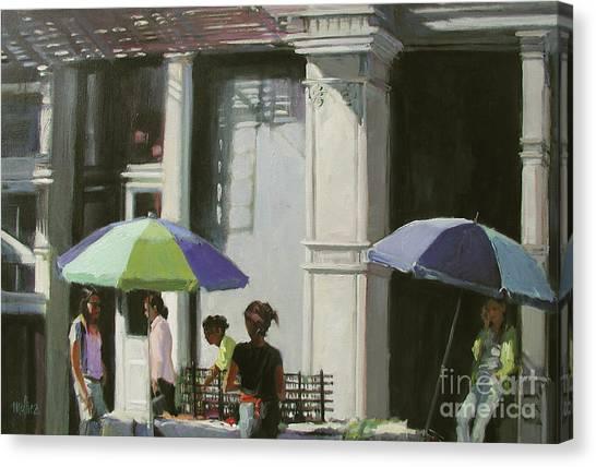 Blue Umbrellas Canvas Print by Patti Mollica