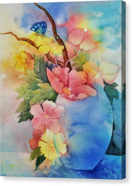 Blue Vase Bouquet Canvas Print