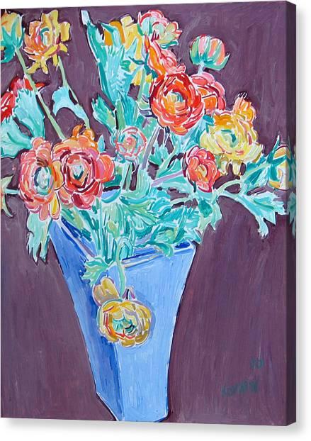 Blue Vase With Flowers Canvas Print by Vitali Komarov
