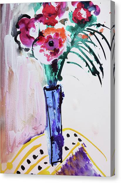 Blue Vase With Red Wild Flowers Canvas Print
