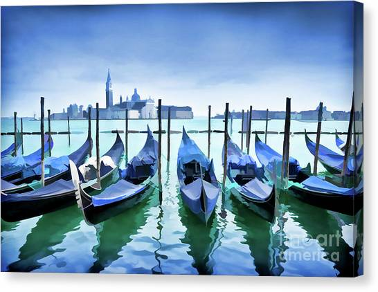Fireworks Canvas Print - Blue Venice by Delphimages Photo Creations