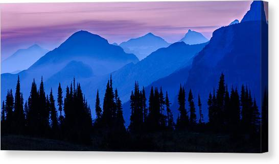 Mountain Sunsets Canvas Print - Blue Wall by Mike Lang