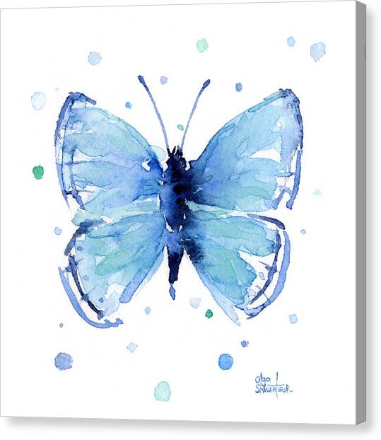 Butterfly Canvas Print - Blue Watercolor Butterfly by Olga Shvartsur