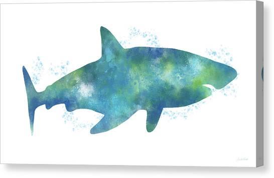 Jaws Canvas Print - Blue Watercolor Shark- Art By Linda Woods by Linda Woods
