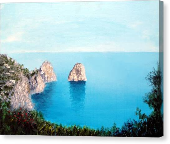 Blue Waters Of Capri  Canvas Print