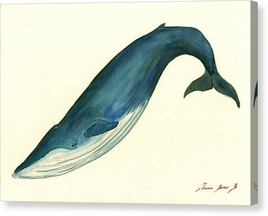 Blue Whales Canvas Print - Blue Whale Painting by Juan  Bosco