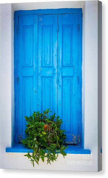 Greece Canvas Print - Blue Window by Inge Johnsson