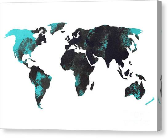 Watercolor Canvas Print - Blue World Map Watercolor Painting by Joanna Szmerdt