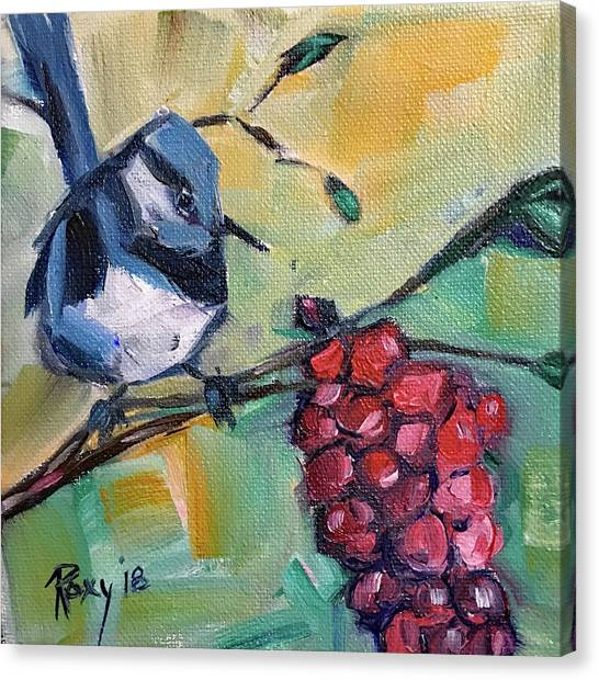 Wrens Canvas Print - Blue Wren With Grapes by Roxy Rich