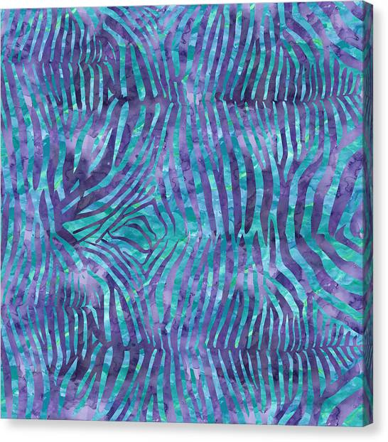 Blue Zebra Print Canvas Print