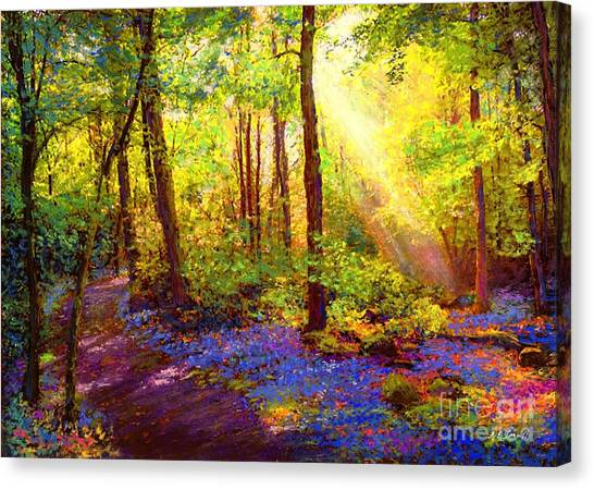 Wood Canvas Print - Bluebell Blessing by Jane Small