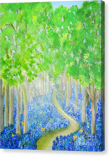 Bluebell Wood With Butterflies Canvas Print