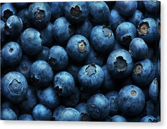 Blueberries Canvas Print - Blueberries Background Close-up by Johan Swanepoel