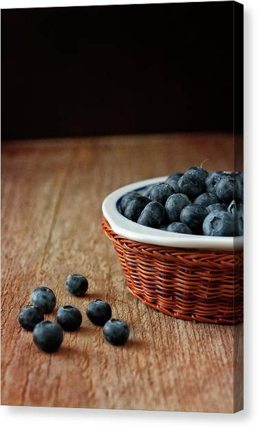 Tables Canvas Print - Blueberries In Wicker Basket by © Brigitte Smith