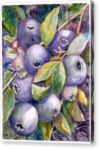 Blueberries Canvas Print by KC Winters