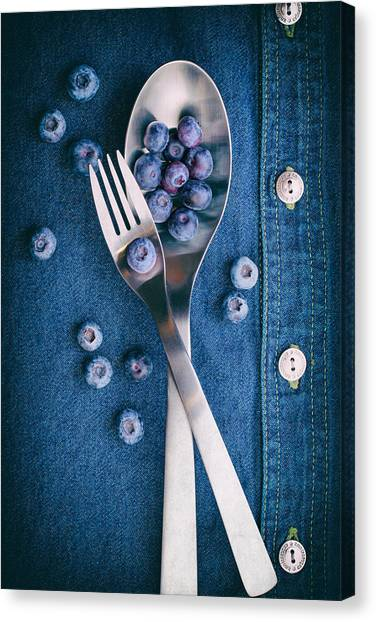 Food Canvas Print - Blueberries On Denim II by Tom Mc Nemar